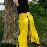 Yellow techno shiny nylon pants