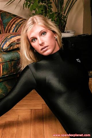 Simone – Tight black Spandex Catsuit
