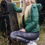 Green Shiny Nylon Benetton Downjacket and Adidas Spandex Leggings