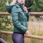 Green Shiny Nylon Benetton Downjacket and Adidas Spandex Leggings