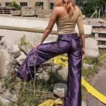 Purple Cordon Shiny Nylon pants and Buffalo Tower boots
