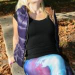 Downvest girl - Purple downvest and shiny spandex leggings