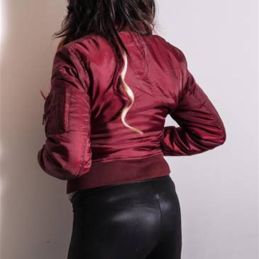Satin Bomberjacket and black spandex leggings girl
