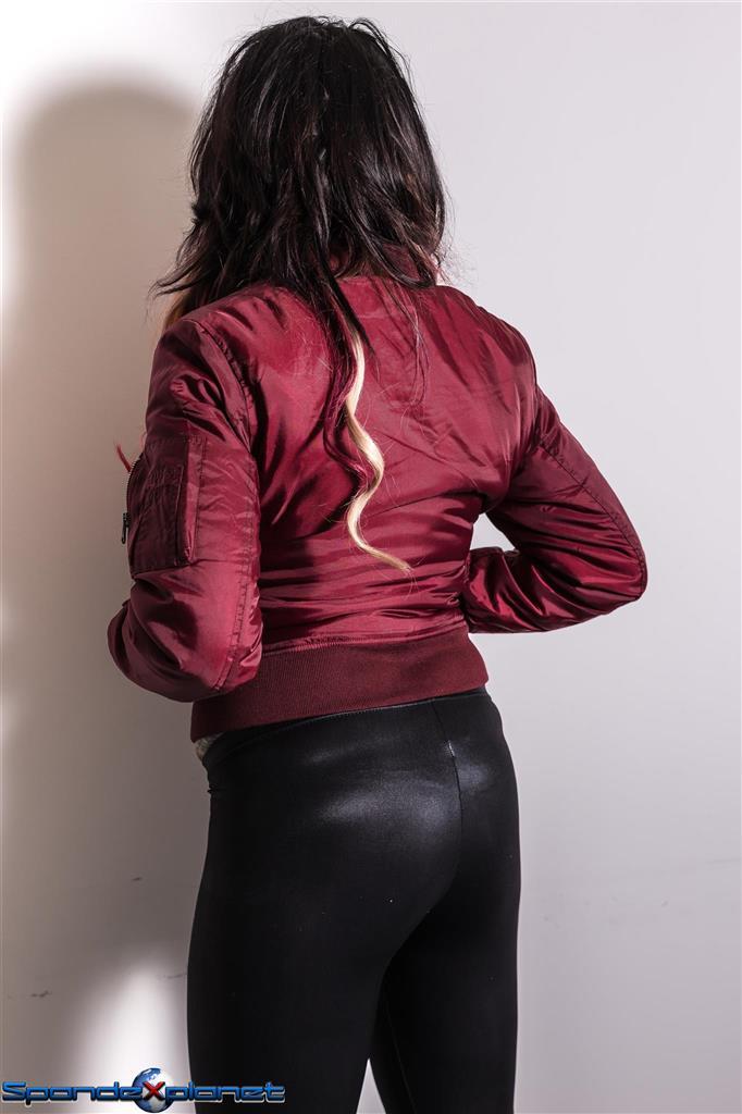 Satin Bomberjacket and black spandex leggings girl ...
