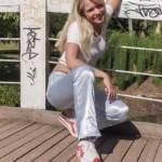 Satin pants and blonde amateur model