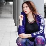 Adidas galaxy leggings and purple Adidas nylon windbreaker jacket