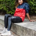 Adidas nylon jacket and black leather leggings