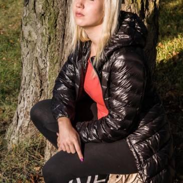 Black downcoat outdoor shooting