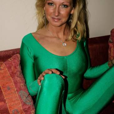 Green spandex catsuit