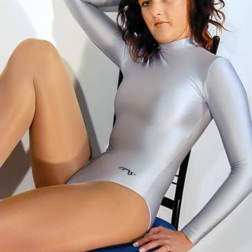 Silver spandex leotard – home shooting