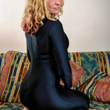 Black spandex catsuit girl