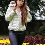 Megan in Moncler downjackets