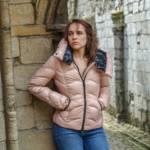 Megan in a pink shiny Moncler down jacket