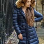 blue shiny Moncler down coat