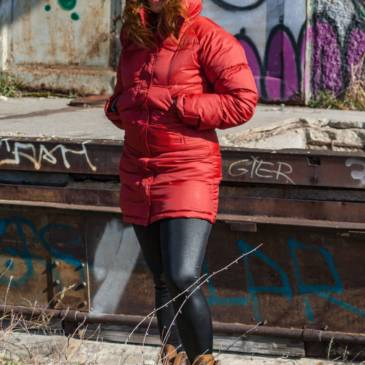 Red puffer downcoat outdoor